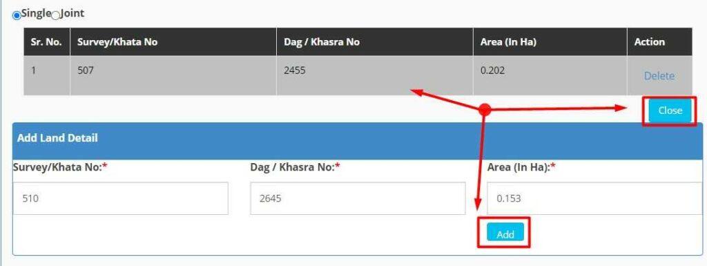 Enter Khata & Khesra Number