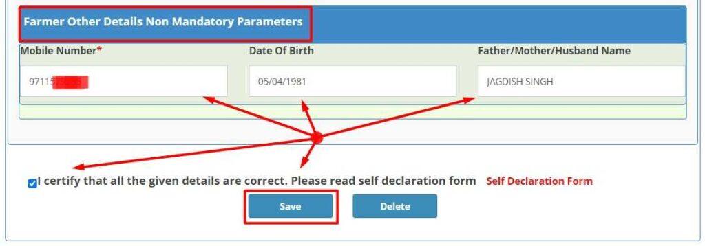 Enter other Details for Farmer Registration Uttar Pradesh like Mobile number, DOB, Father name and click on Save