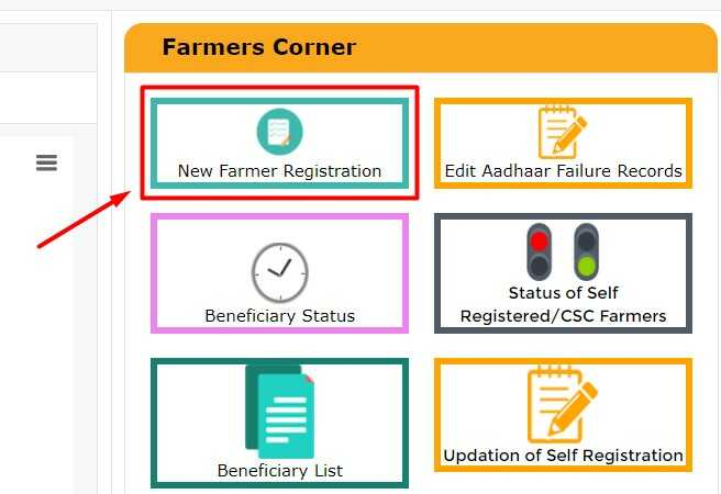 New Farmer Registration Menu on PM Kisan Official Website for UP Kisan Registration