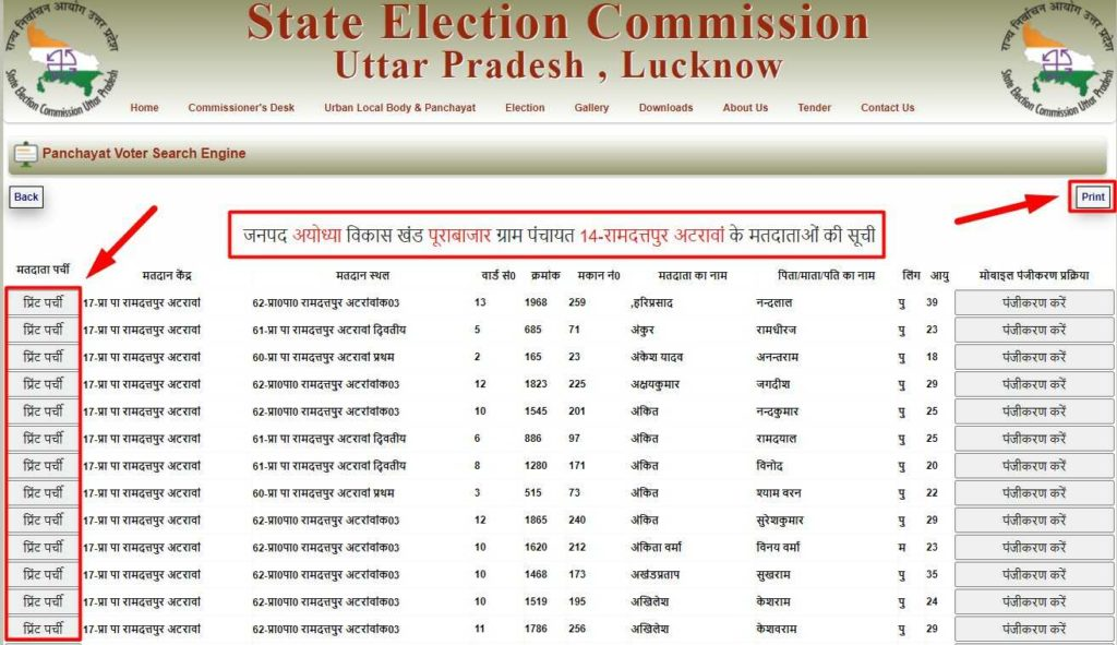 UP Voter List Download from Sec.up.nic.in website