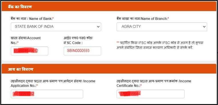 Bank & Income Details for UP Viklang Pension Yojana Apply Online