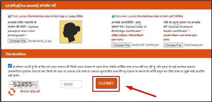 Upload Photo & Documents for UP Widow Pension Apply Online